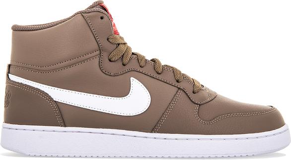 Brązowe buty sportowe Nike ze skóry sznurowane