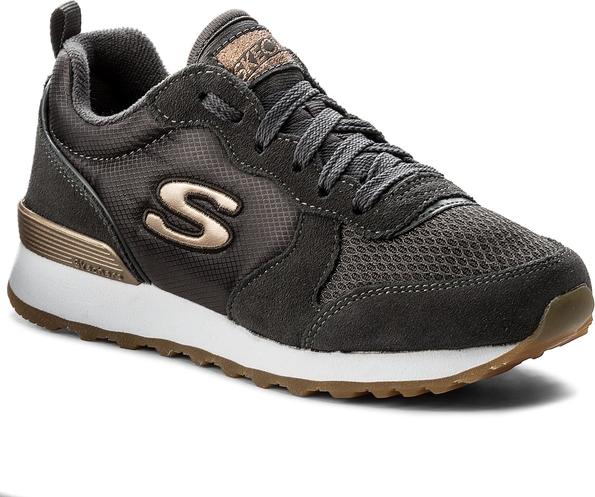 Brązowe buty sportowe skechers z zamszu sznurowane