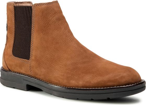 Brązowe buty zimowe Clarks z nubuku