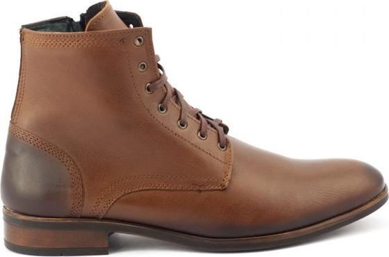 Brązowe buty zimowe Kent sznurowane ze skóry