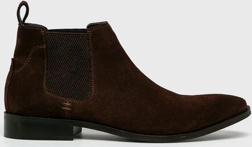 Brązowe buty zimowe Medicine ze skóry