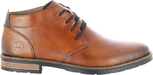 Brązowe buty zimowe Rieker ze skóry sznurowane