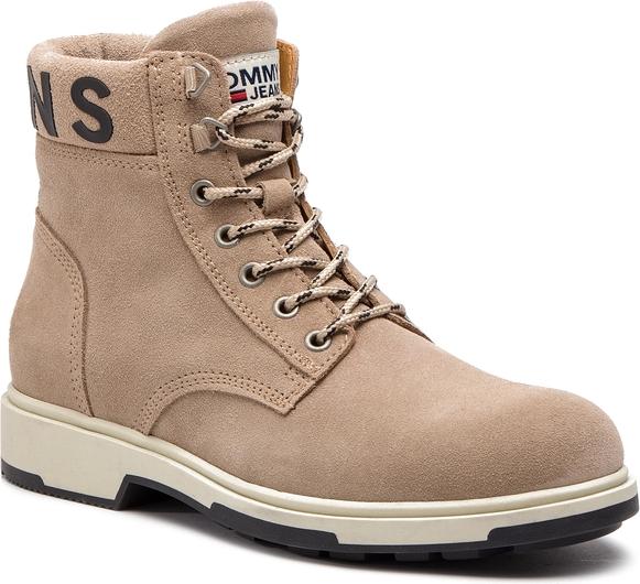 Brązowe buty zimowe Tommy Hilfiger sznurowane z zamszu