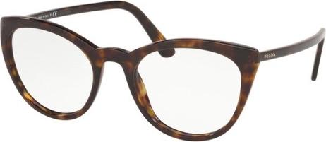 Brązowe okulary damskie Prada ze skóry