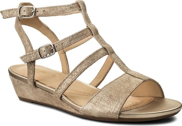 Brązowe sandały clarks w stylu casual ze skóry