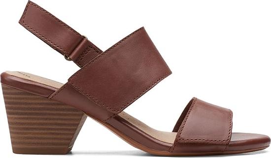 Brązowe sandały Clarks z klamrami na obcasie