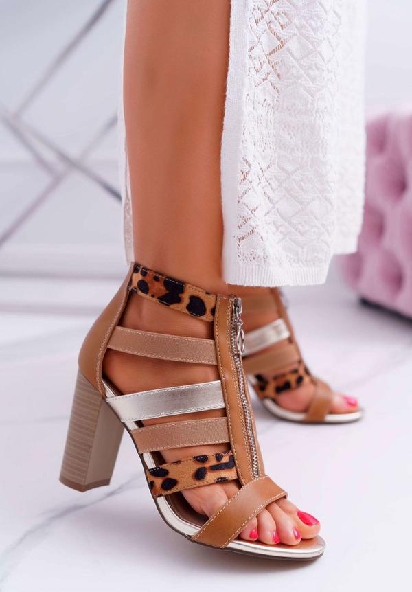 Brązowe sandały Fe1 ze skóry