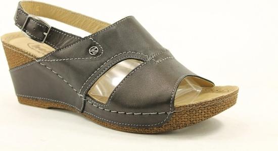Brązowe sandały Helios na średnim obcasie