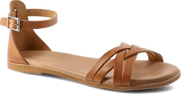 Brązowe sandały Maciejka ze skóry