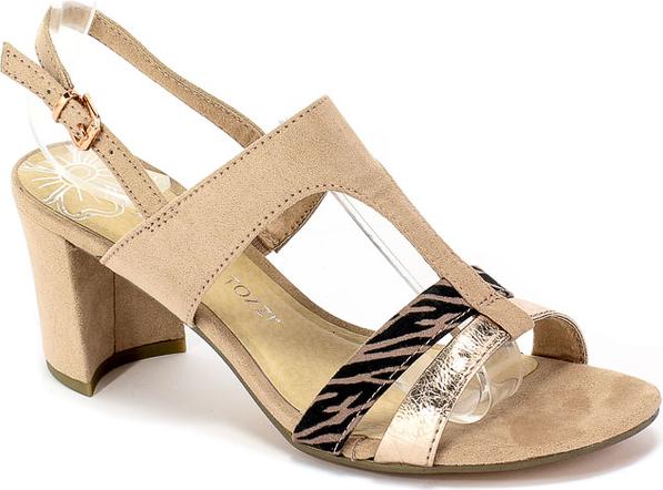 Brązowe sandały Marco Tozzi na obcasie z klamrami na średnim obcasie