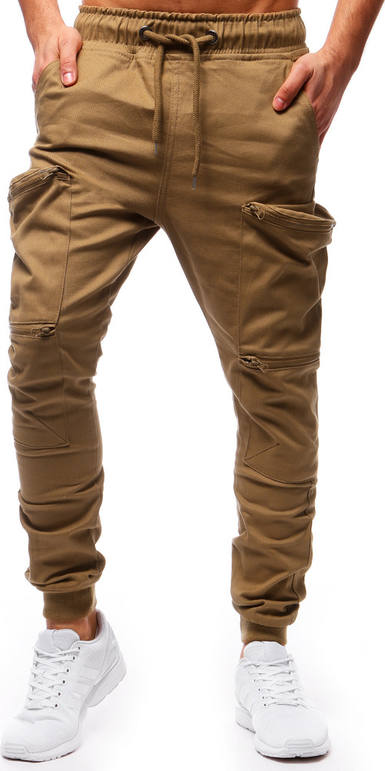 Brązowe spodnie dstreet z bawełny