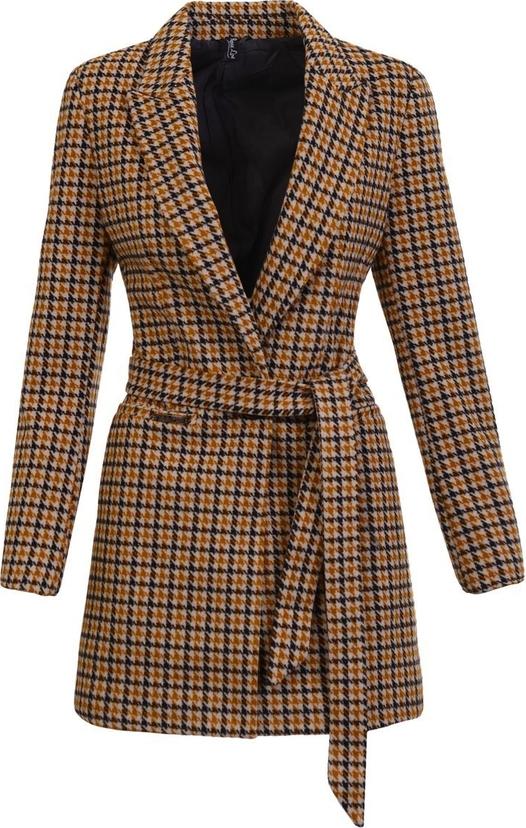 Brązowy płaszcz fasoni.pl w stylu casual z wełny