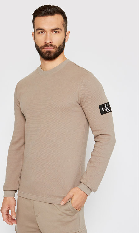 Brązowy sweter Calvin Klein z okrągłym dekoltem w stylu casual z wełny