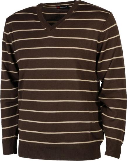 Brązowy sweter Willsoor w młodzieżowym stylu z okrągłym dekoltem