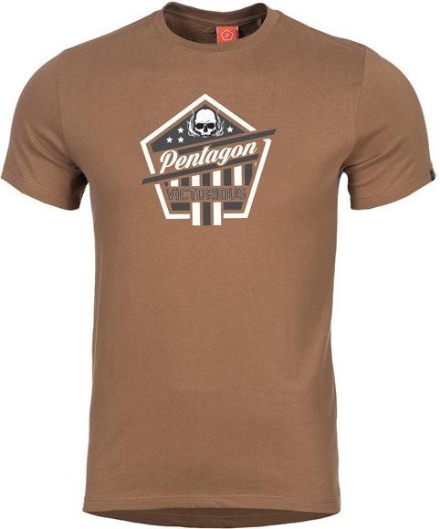 Brązowy t-shirt Pentagon w młodzieżowym stylu z krótkim rękawem
