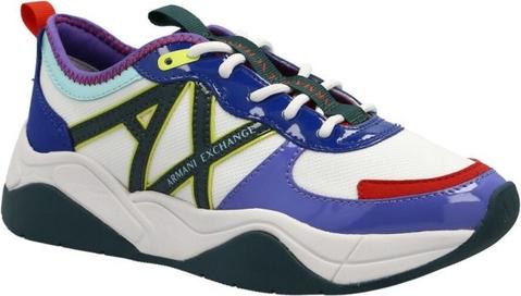 Buty sportowe Armani Exchange sznurowane ze skóry