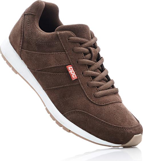 68465f8da8495 Brązowe buty sportowe bonprix bpc bonprix collection sznurowane z płaską  podeszwą