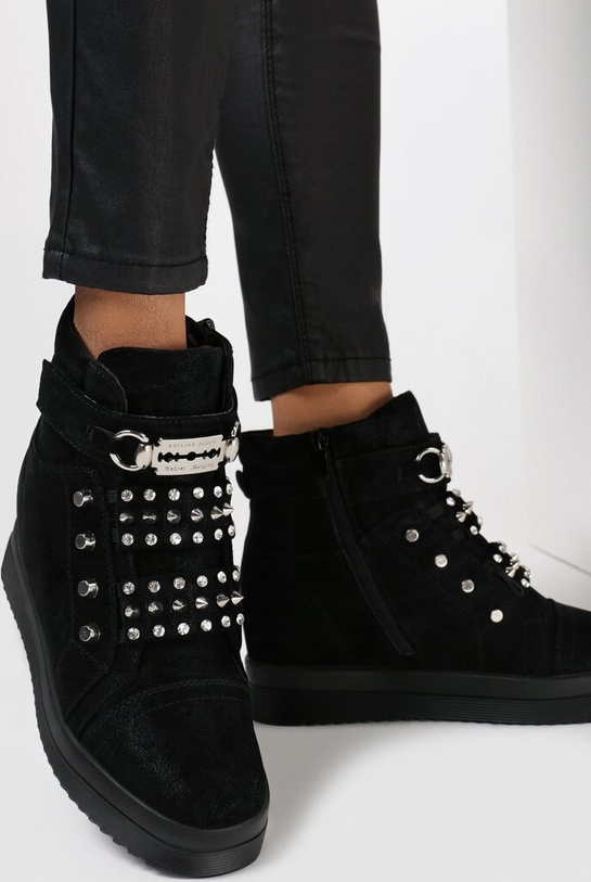 Buty sportowe born2be sznurowane z zamszu