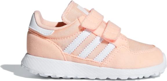 Różowe buty sportowe dziecięce Adidas z zamszu na rzepy