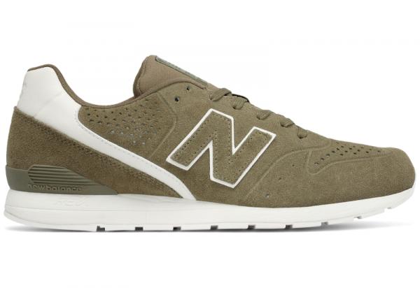 55c7b37a Zielone buty sportowe New Balance sznurowane w sportowym stylu z zamszu