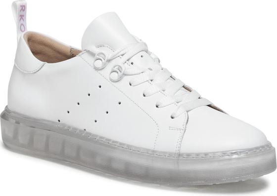 Buty sportowe Ryłko sznurowane z płaską podeszwą ze skóry