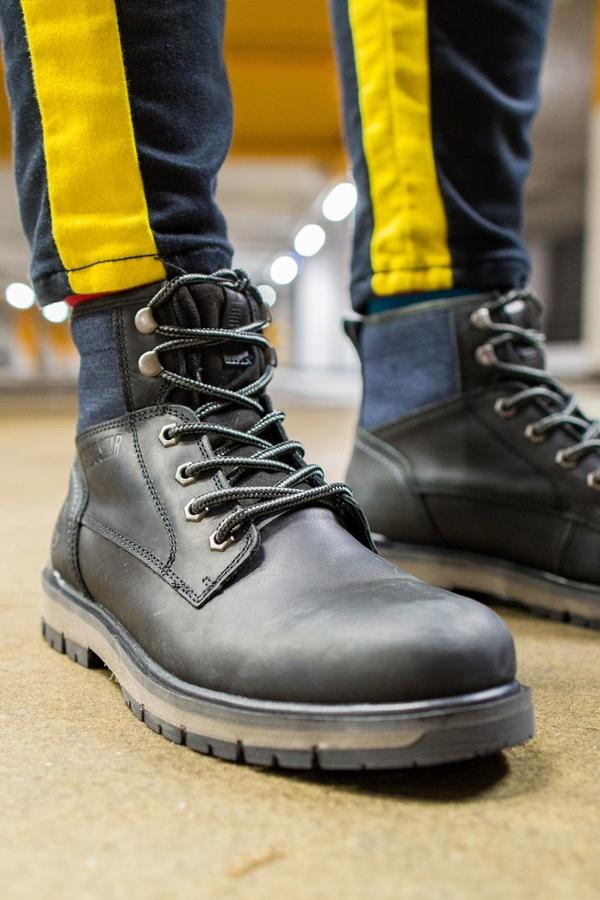 Buty zimowe Big Star ze skóry w stylu casual sznurowane