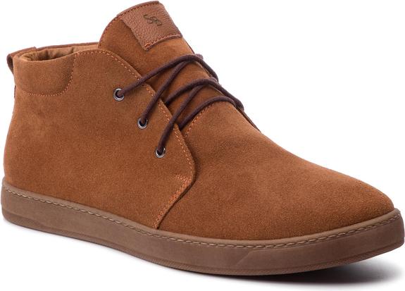 Buty zimowe Sergio Bardi sznurowane z zamszu w stylu casual
