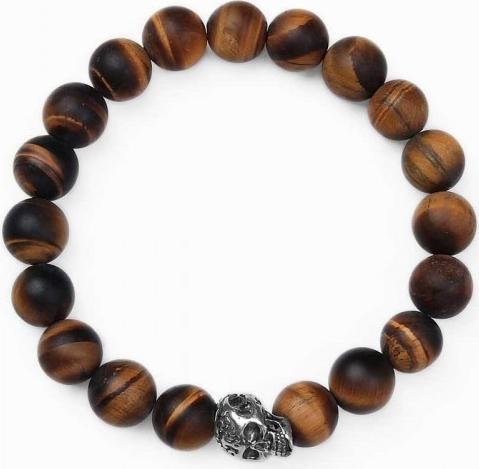 Caviallo Bransoletka męska z matowych kamieni tygrysie oko 10 mm z czaszką M