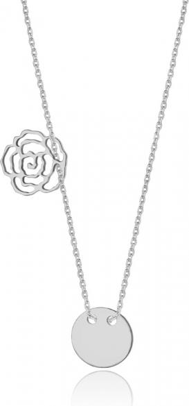 Caviallo Srebrny naszyjnik z kółeczkiem i różą