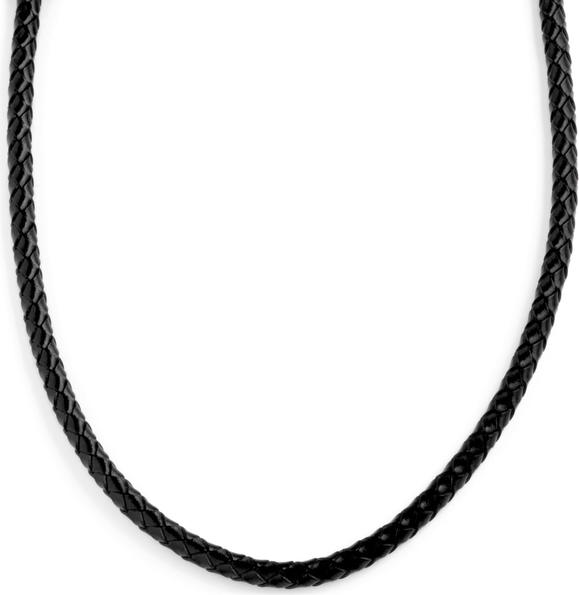 Collin Rowe Czarny naszyjnik z plecionej skóry 5 mm