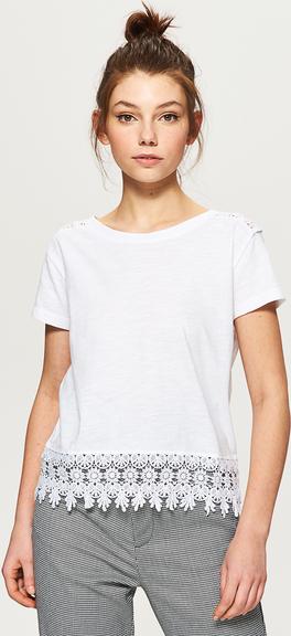Cropp - koszulka z ozdobną koronką - biały