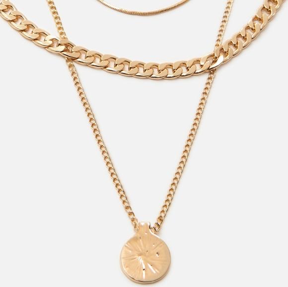 Cropp - Naszyjnik z łańcuszkami - Złoty
