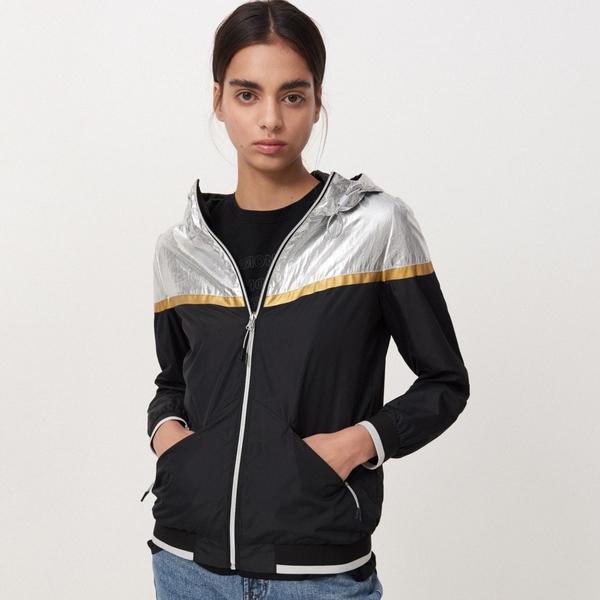 Cropp - Sportowa kurtka z kapturem - Srebrny