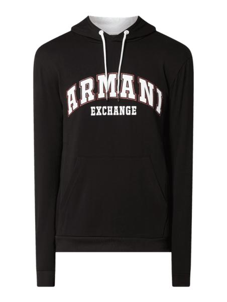 Czarna bluza Armani Exchange z bawełny z nadrukiem