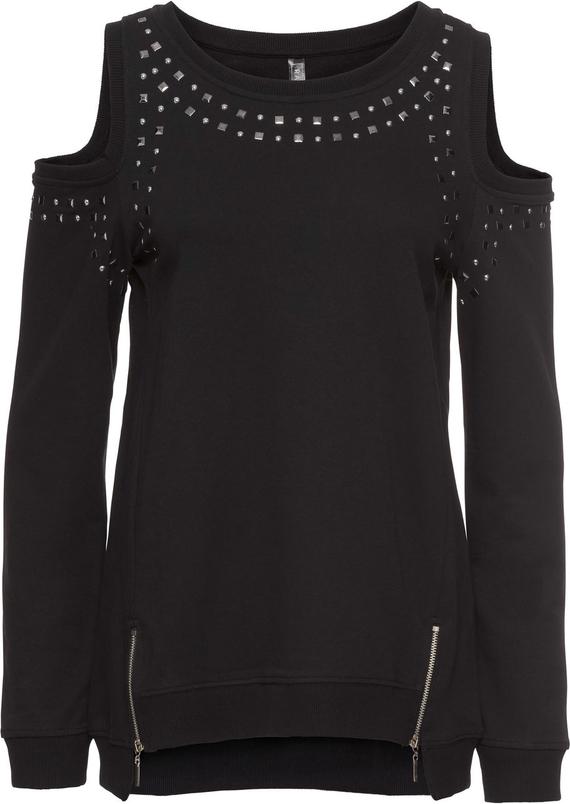 Czarna bluza bonprix RAINBOW w sportowym stylu krótka
