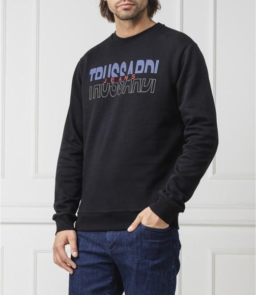 Czarna bluza Trussardi Jeans w młodzieżowym stylu z bawełny