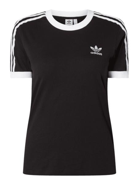 Czarna bluzka Adidas Originals w sportowym stylu z krótkim rękawem z bawełny