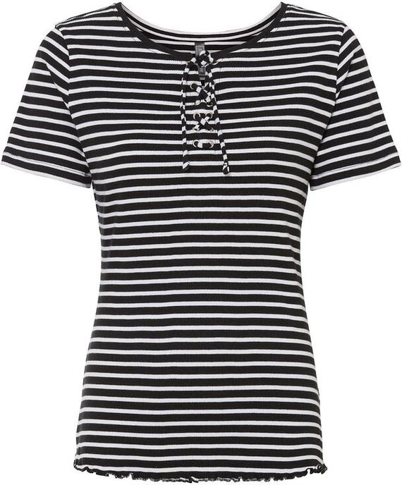 Czarna bluzka bonprix z krótkim rękawem z okrągłym dekoltem z bawełny