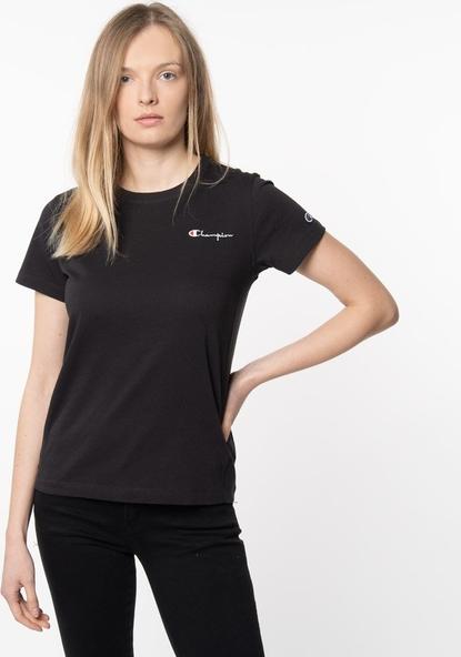 Czarna bluzka Champion z okrągłym dekoltem w sportowym stylu