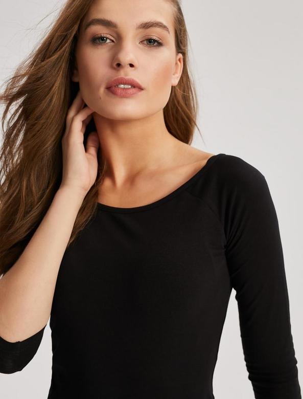 Czarna bluzka Diverse z długim rękawem w stylu casual
