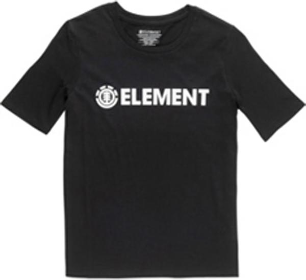 Czarna bluzka Element w młodzieżowym stylu z krótkim rękawem z okrągłym dekoltem