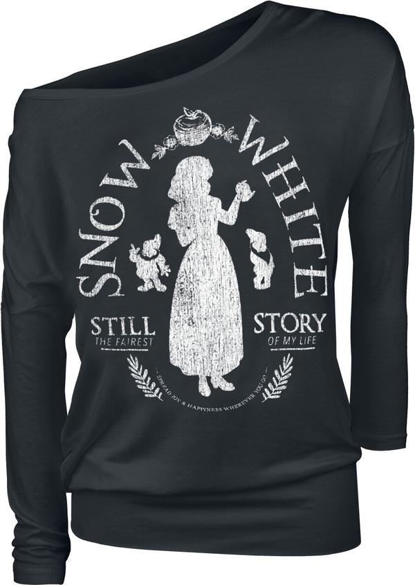 Czarna bluzka Emp z długim rękawem z okrągłym dekoltem
