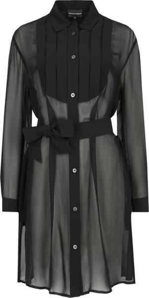 Czarna bluzka Emporio Armani z długim rękawem z jedwabiu