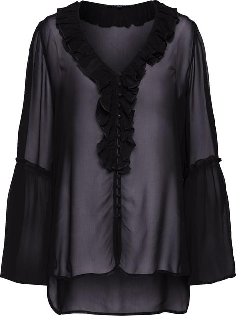 Czarna bluzka Farina Opoku w stylu glamour z długim rękawem