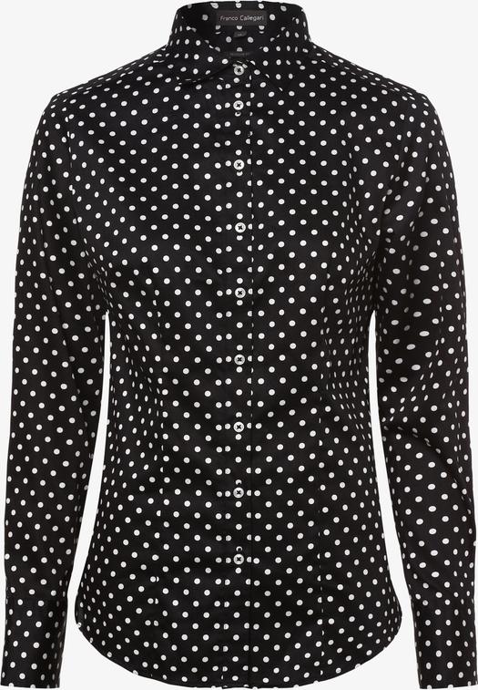 Czarna bluzka Franco Callegari w stylu casual z kołnierzykiem