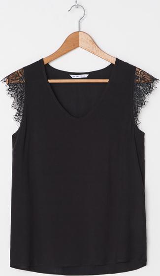 Czarna bluzka House z okrągłym dekoltem bez rękawów w stylu casual