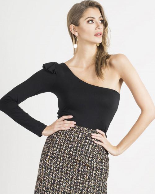 Czarna bluzka Ivon z długim rękawem w stylu glamour