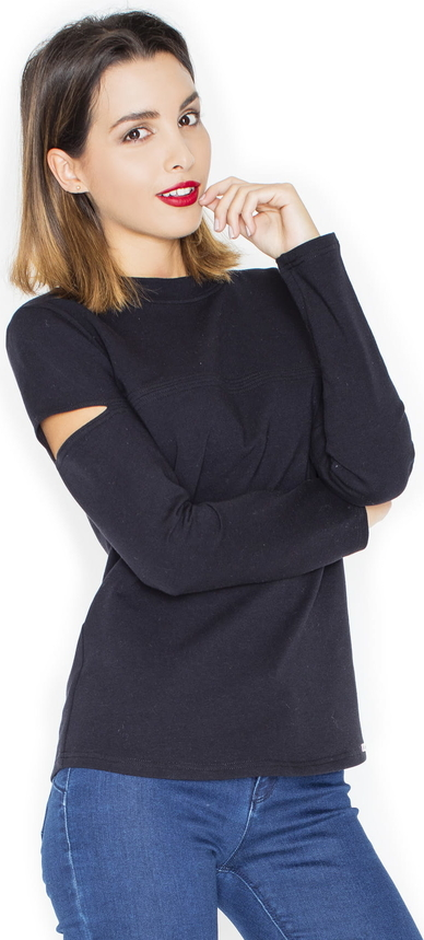 Czarna bluzka Katrus z długim rękawem
