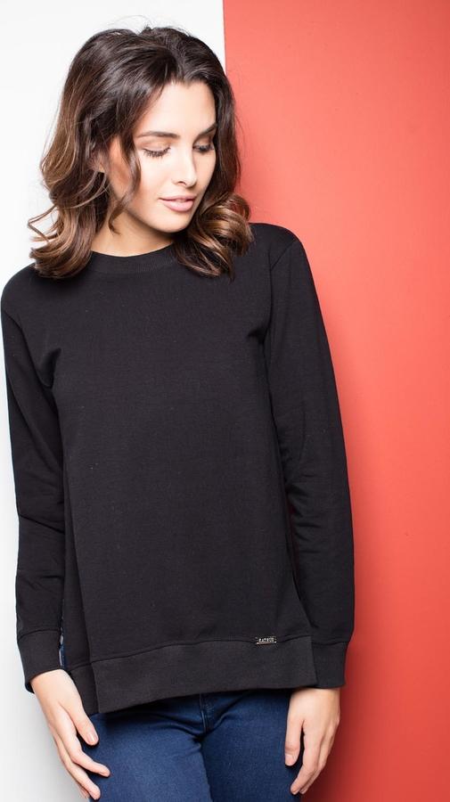 Czarna bluzka Katrus z długim rękawem z bawełny w stylu casual