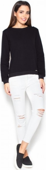 Czarna bluzka Katrus z dresówki z długim rękawem